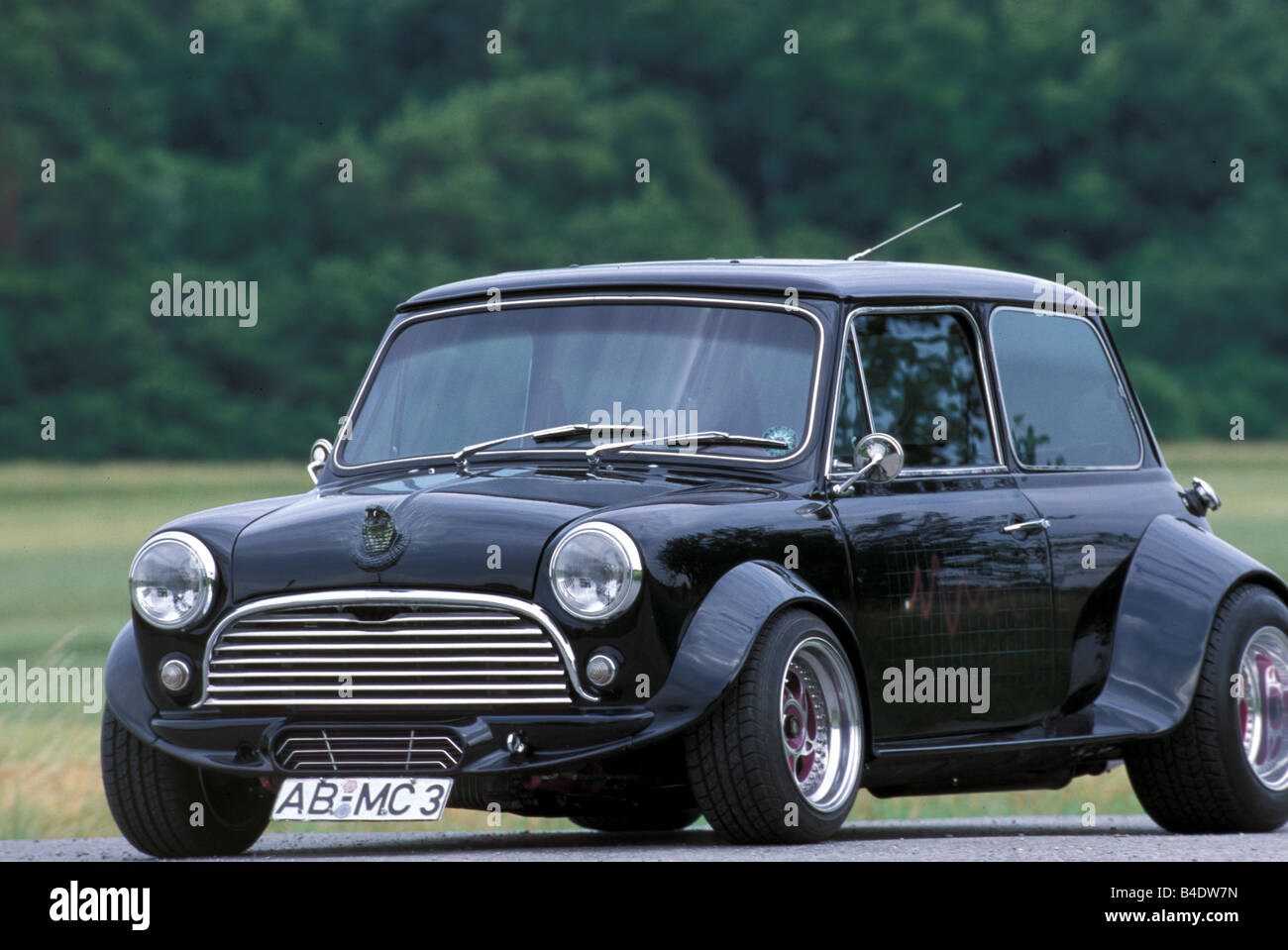 Car, Mini MKII Cooper, coupe/Coupe, Miniapprox.s, black, model year 1990-2001, Tuning, diagonal from the front, - Stock Image