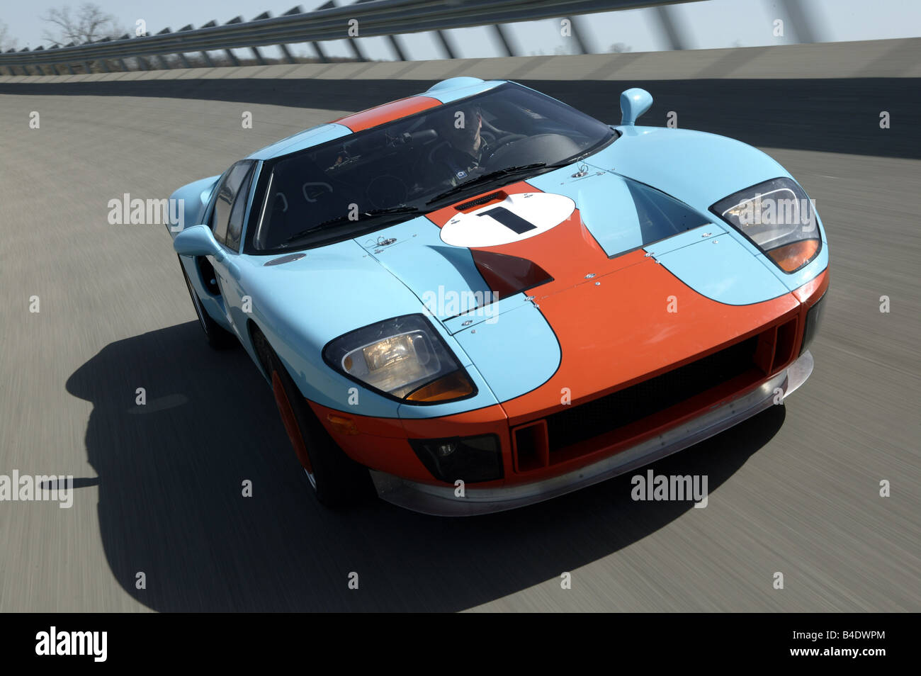 Car Ford Gt  Predotype Model Year  Blue Orange Roadster Coupe Coupe Driving Race Track Test Track Diagonal From