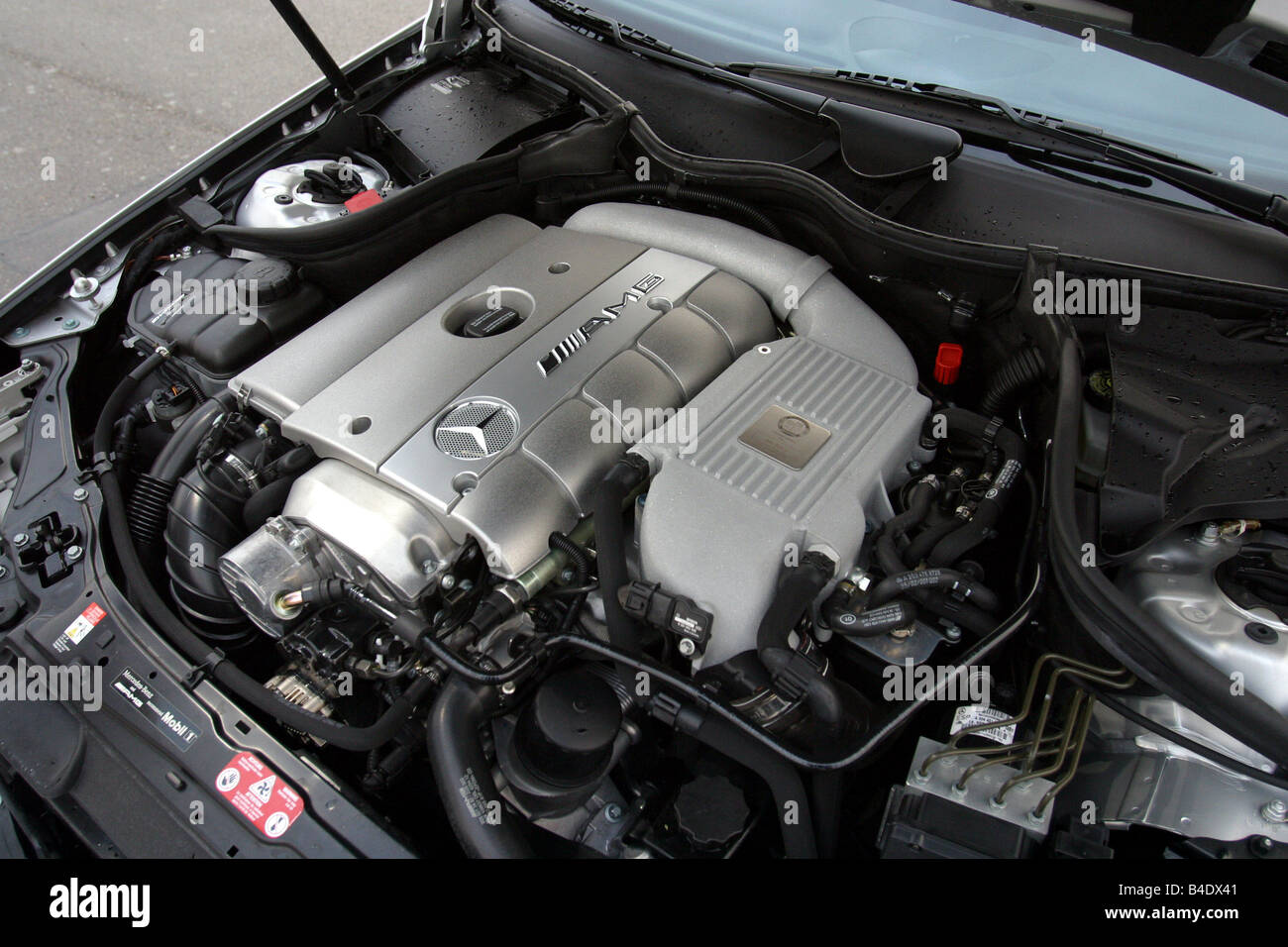 Car, Mercedes C 30 CDI AMG, model year 2002, silver, medium class, Tuning, 231 PS, view in engine compartment, engine, - Stock Image