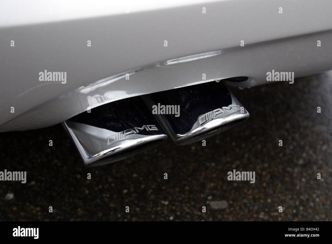 Car, Mercedes C 30 CDI AMG, model year 2002, silver, medium class, Tuning, 231 PS, Exhaust, technique/accessory, - Stock Image
