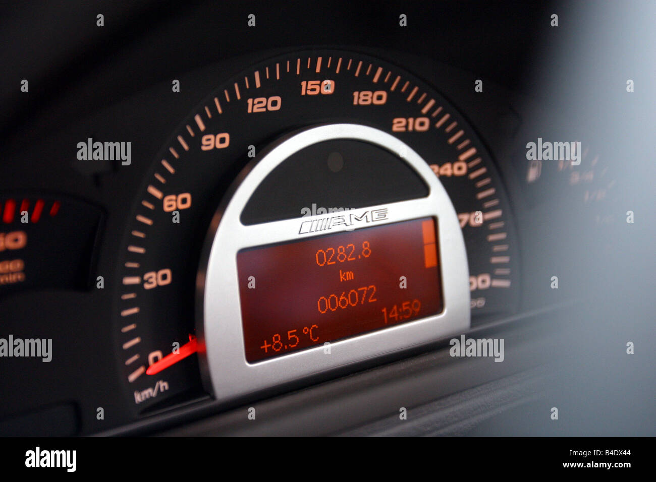 Car, Mercedes C 30 CDI AMG, model year 2002, silver, medium class, Tuning, 231 PS, Detailed view, Cockpit, technique/accessory, - Stock Image