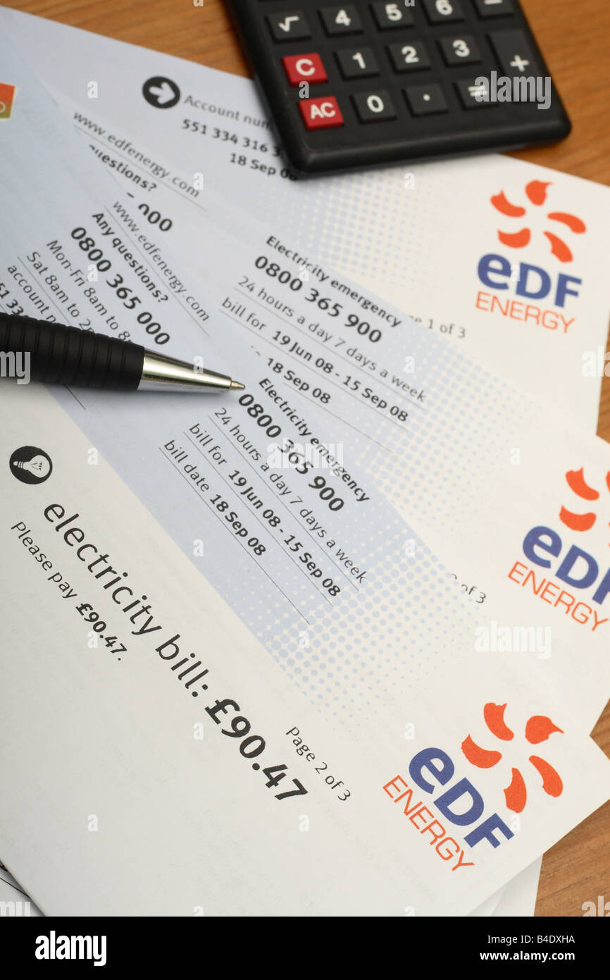 EDF electricity domestic home fuel power bill - Stock Image