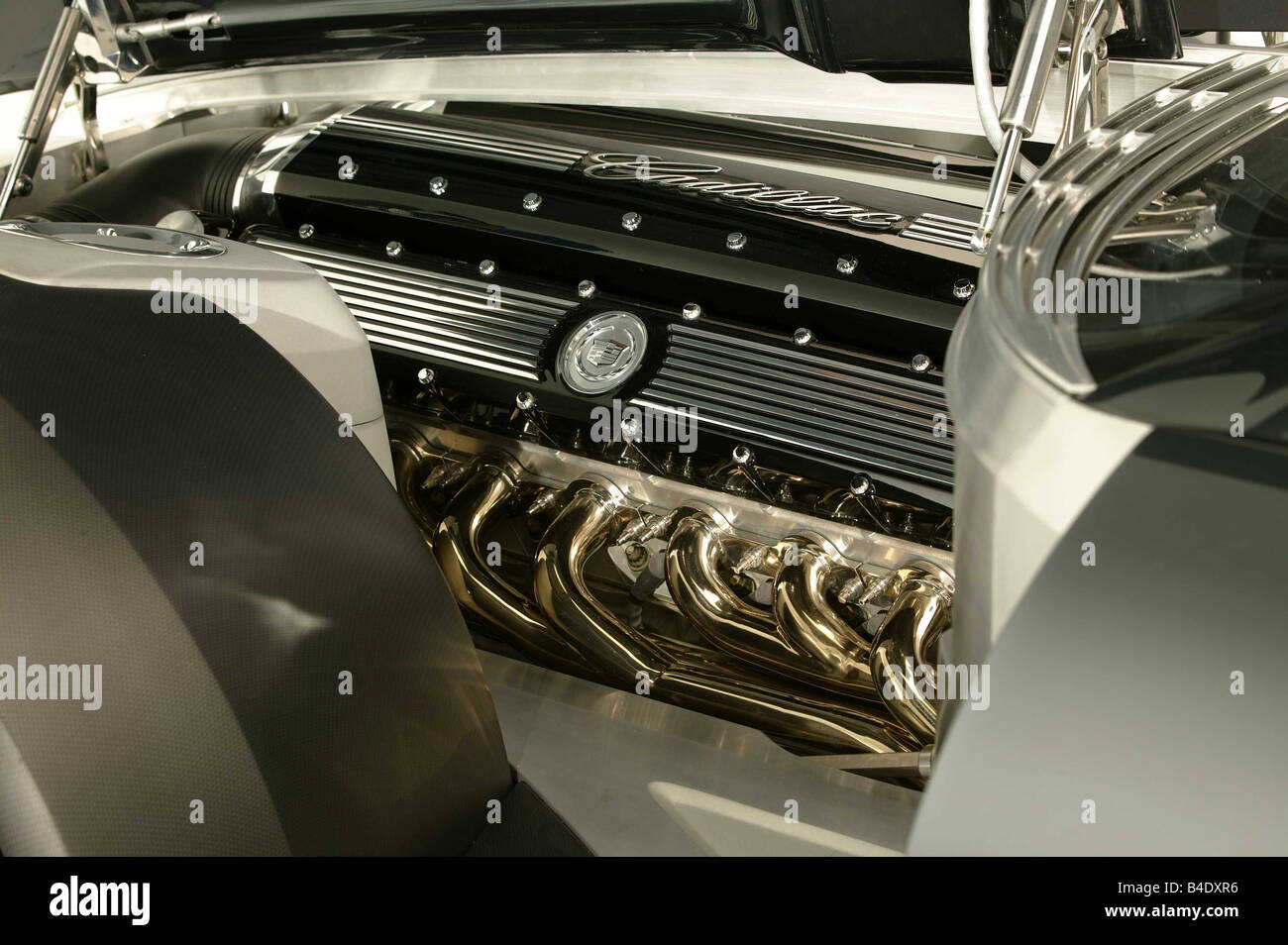 Car, Cadillac Sixteen, Predotype, Luxury approx.s, Limousine, black, model year 2003, presented on the car show - Stock Image