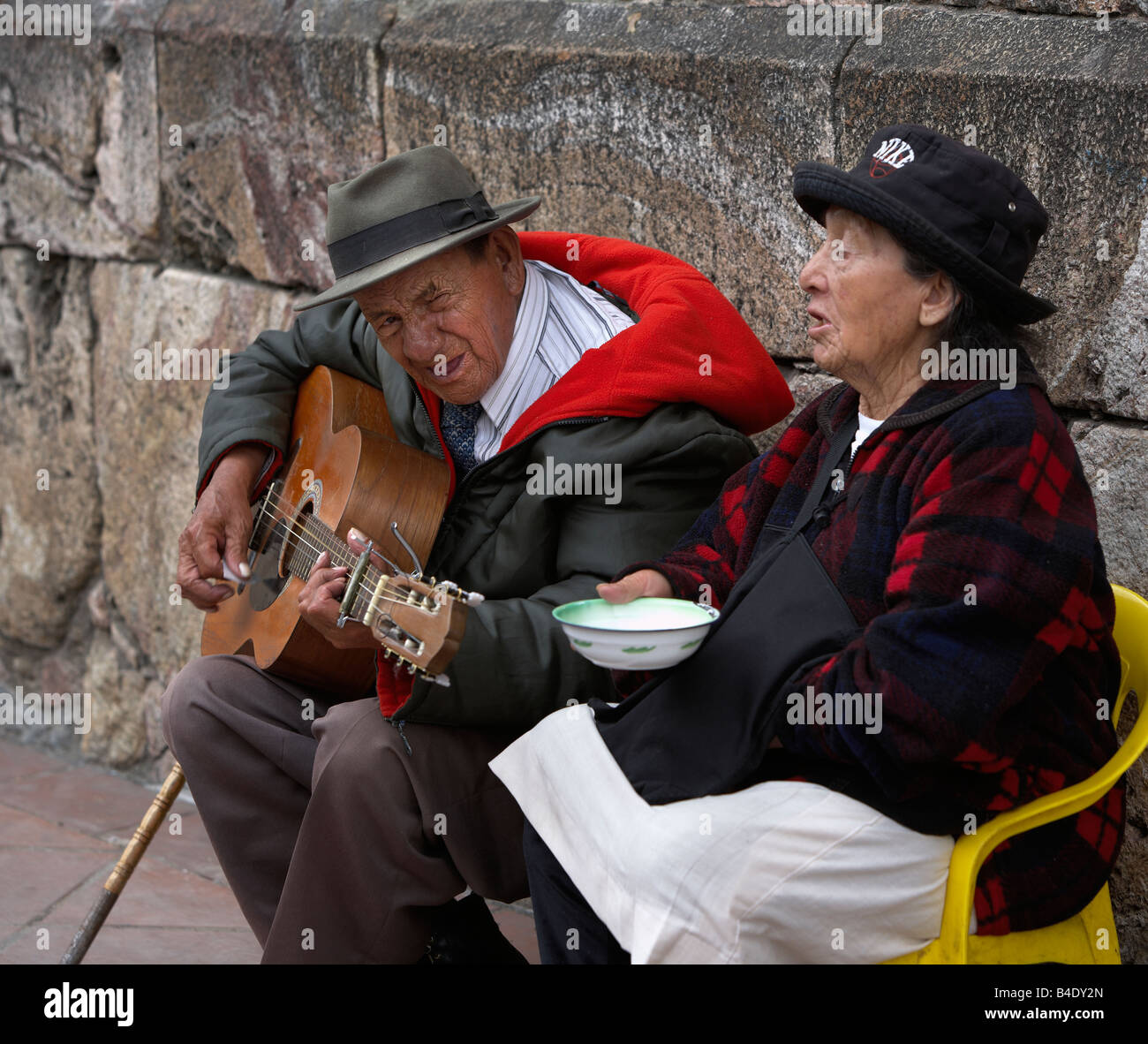 Senior couple on street begging, Quito Ecuador - Stock Image