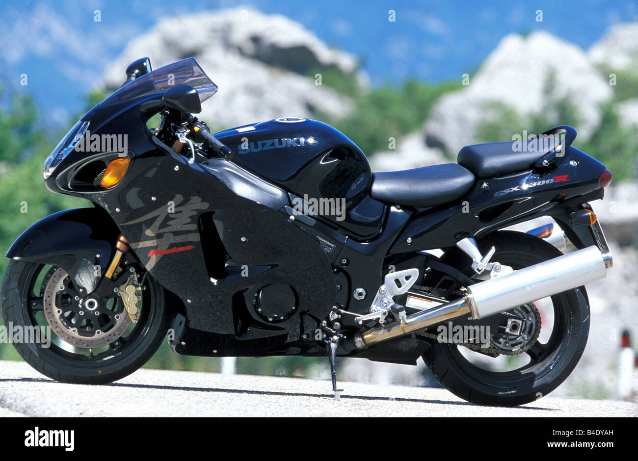 engine cycle, Sports motor cycle, Sportsman, Suzuki GSX 1300 R Hayabusa, black, model year 2003, standing, upholding, Stock Photo