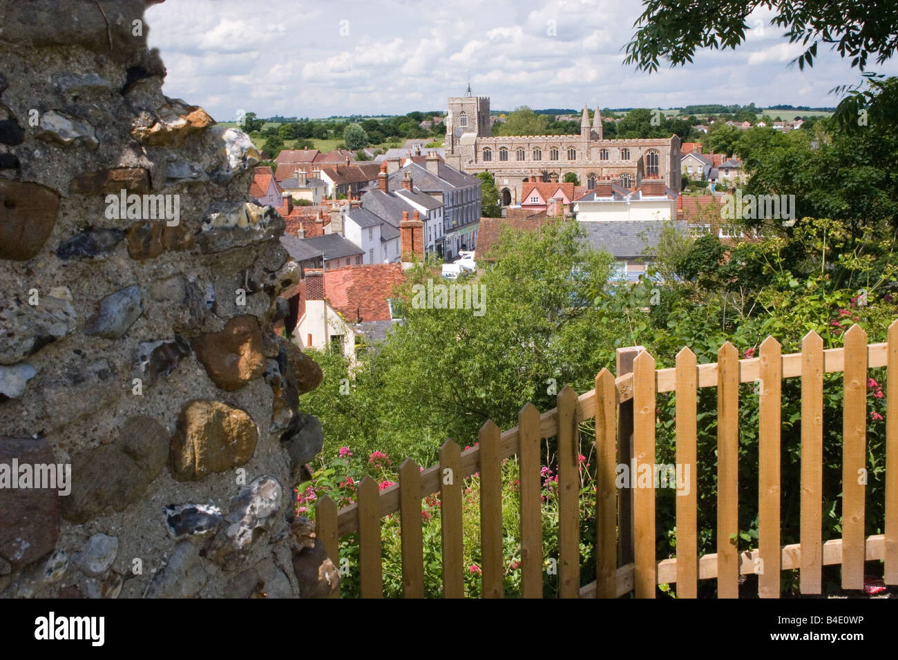 view of medieval town of Clare Suffolk England - Stock Image