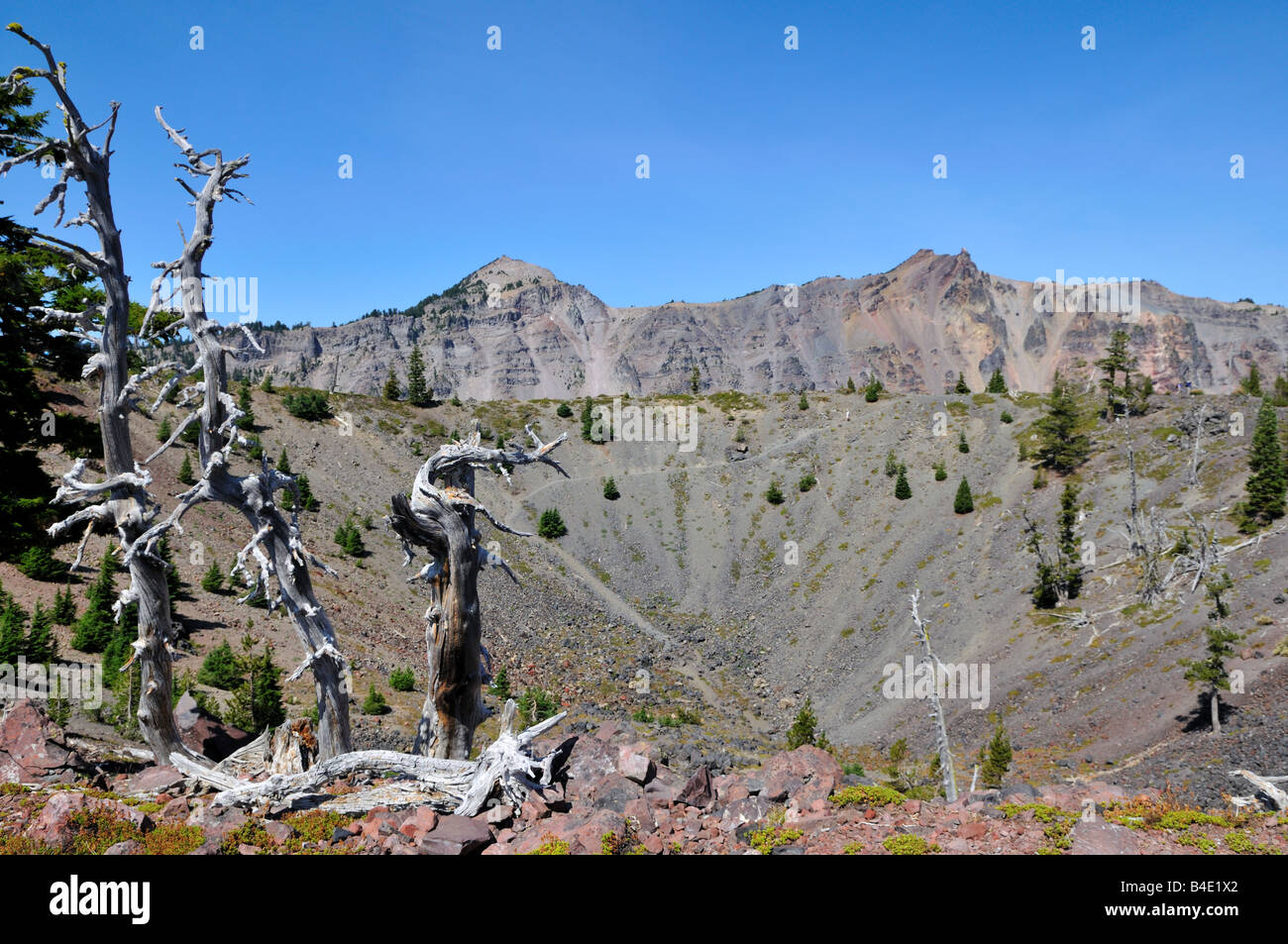The Witch's Cauldron, a small crater on top of the Wizard Island. The Crater Lake National Park, Oregon, USA. Stock Photo