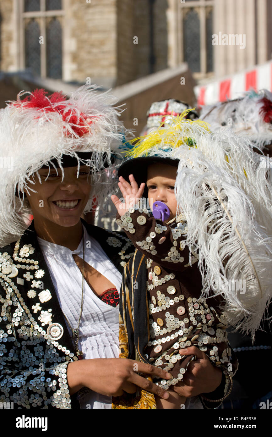 Pearly Kings and Queens Harvest Festival Guildhall London September 28th 2008 - Stock Image