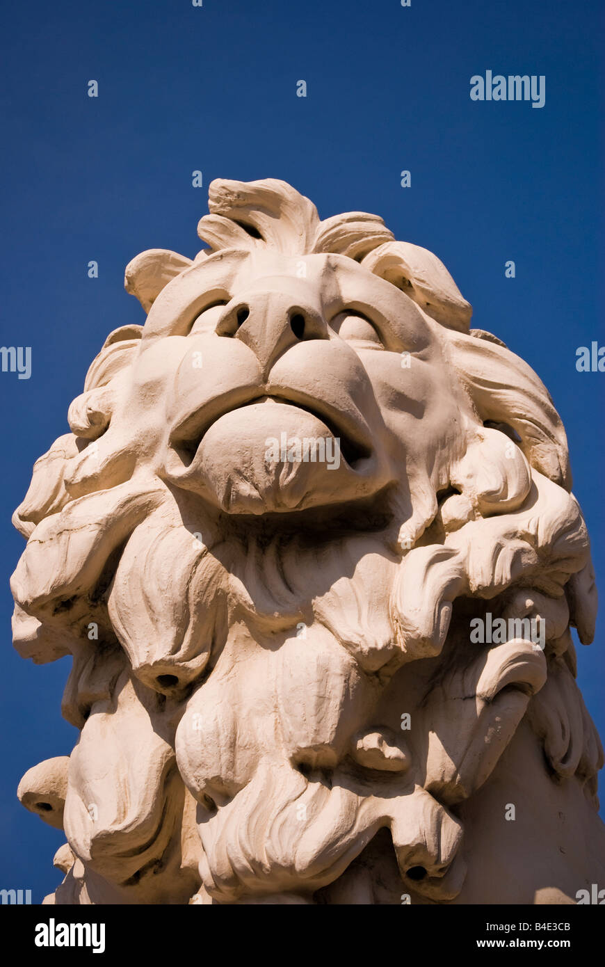 'Coade stone' lion sculpture, Westminster bridge, London, England, UK - Stock Image