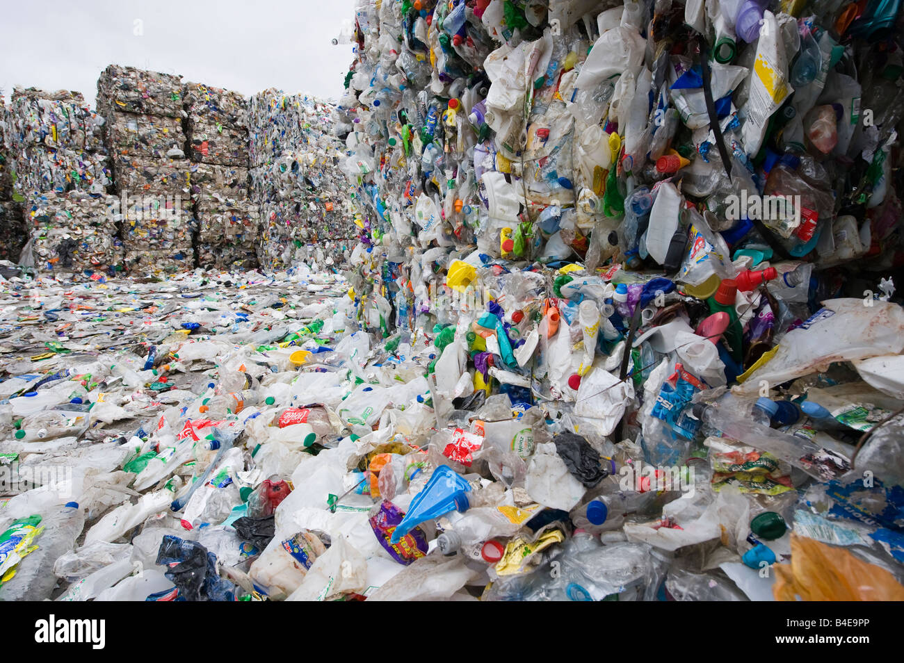 Plastics sorted in a waste recycling plant in the uk - Stock Image
