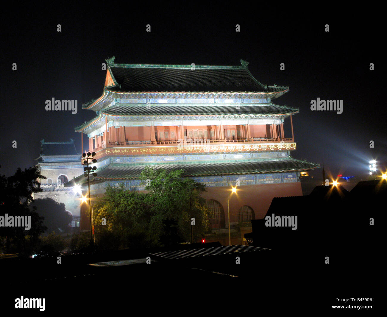The Yuan Dynasty Bell and Drum Towers at night in the Shichahai Hutong district of Beijing China - Stock Image