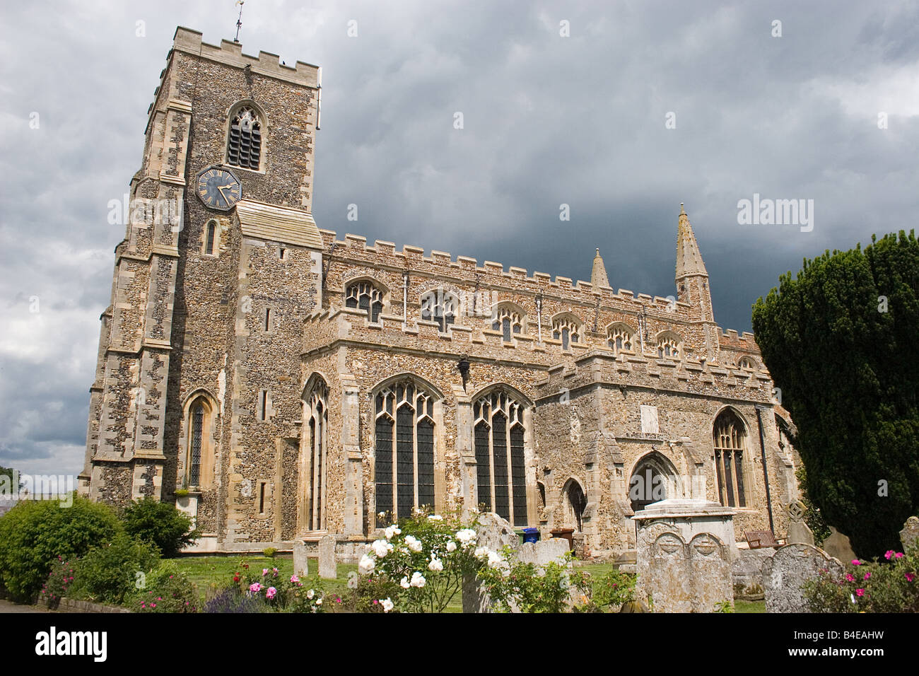 St Peter St Paul 15th century church Clare Suffolk England - Stock Image