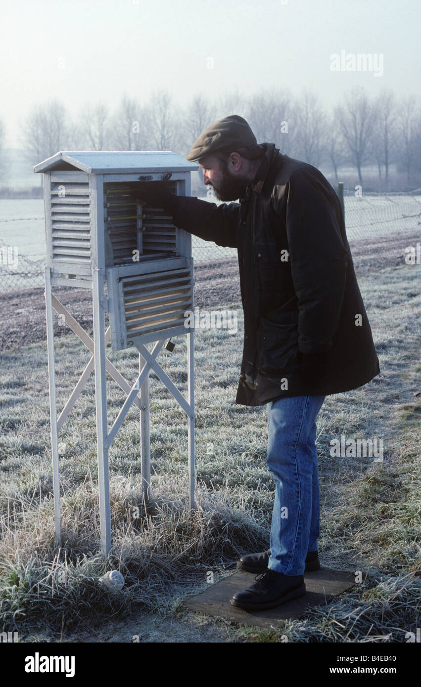 Researcher reading maximum minimum thermometers in Stevensons screen housing - Stock Image