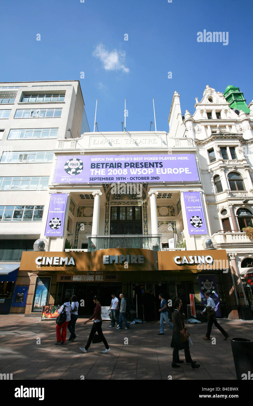 The Empire Cinema and Casino in Leicester Square entertainment theatre district area West End London England UK Stock Photo