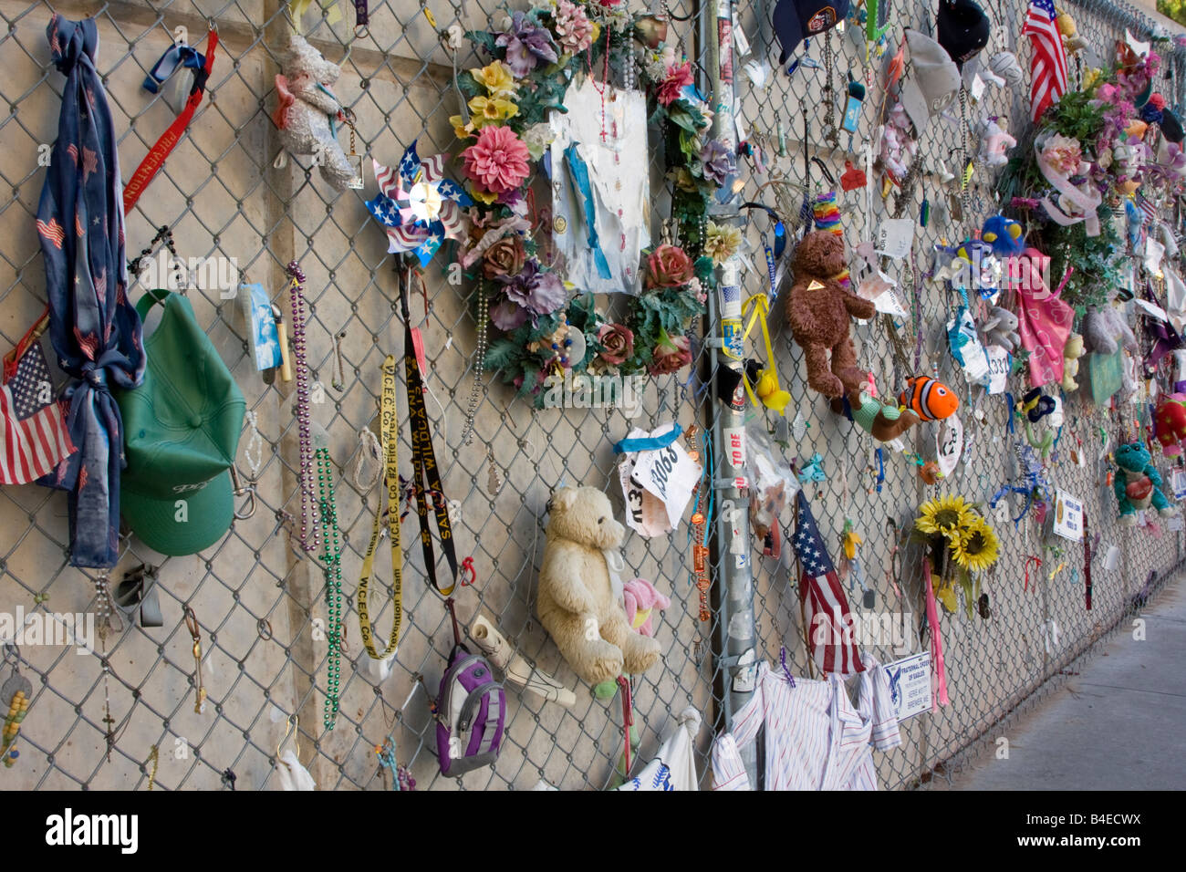 Oklahoma City, Oklahoma, USA. OKC National Memorial, Mementos on Fence. Toys, Dolls, Clothing of those lost in the - Stock Image
