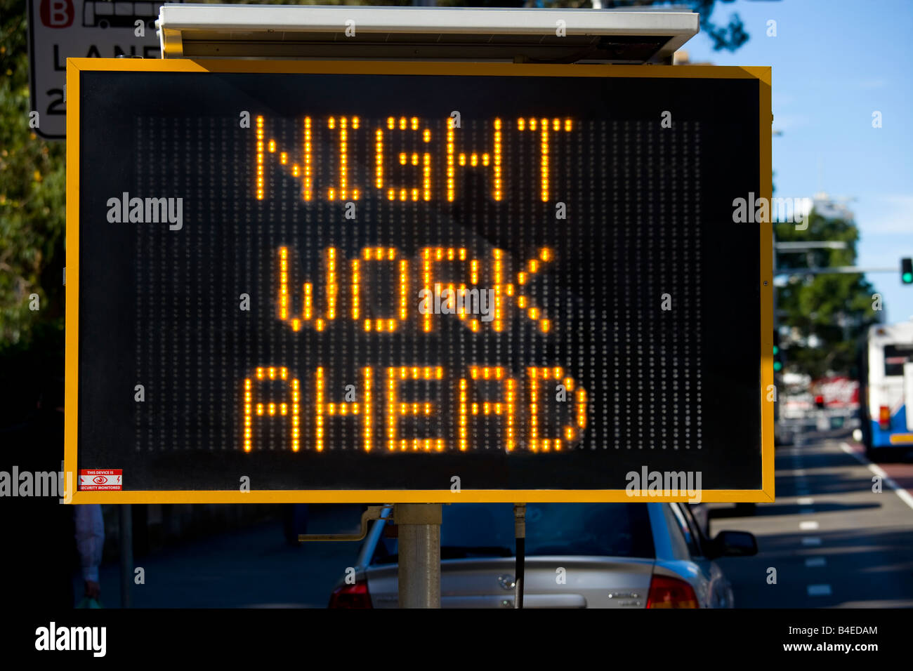 NIGHT WORK AHEAD Variable message sign warning for roadworks. - Stock Image