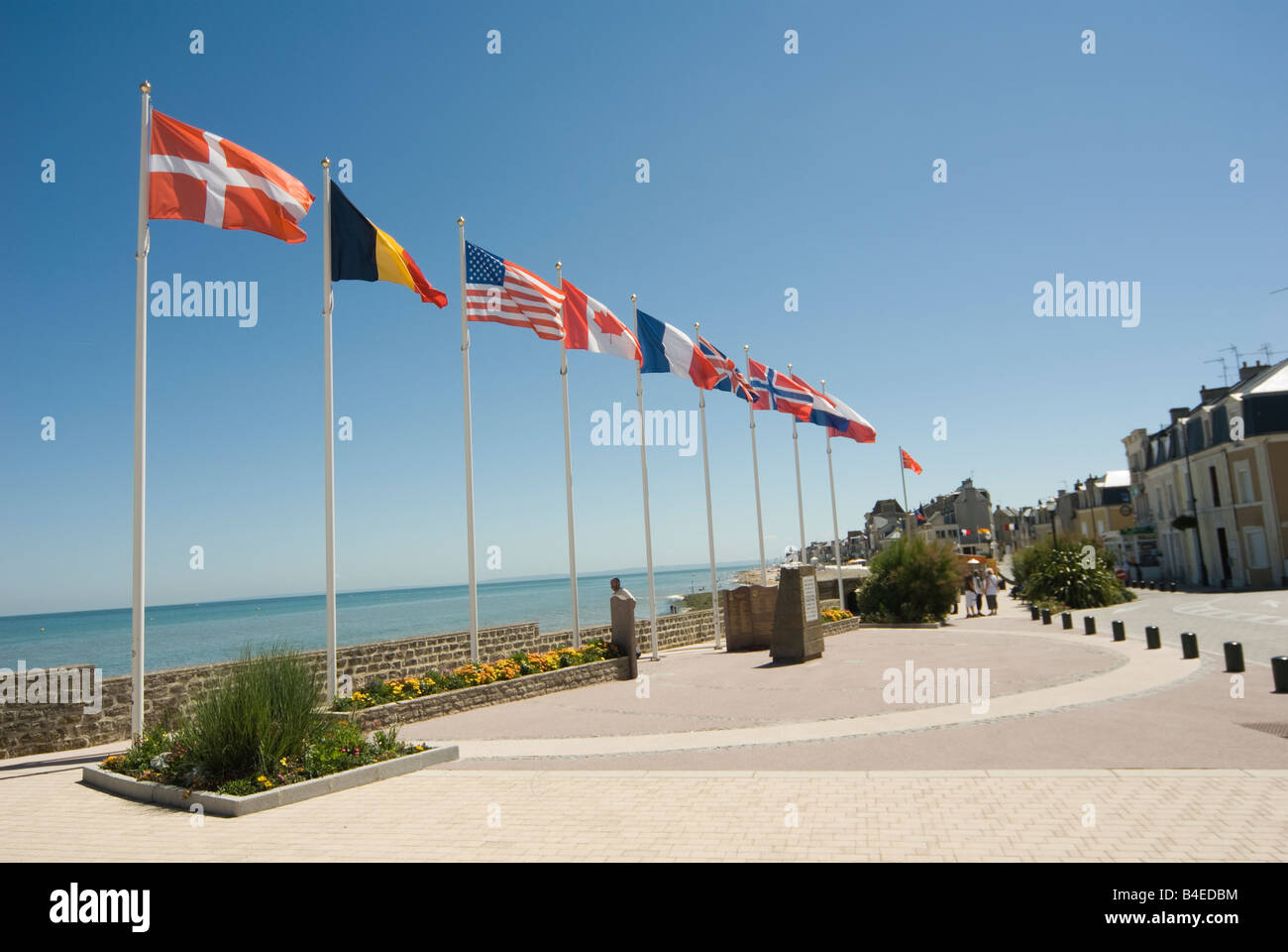 Operation Overlord St Aubin flags Normandy France Stock Photo