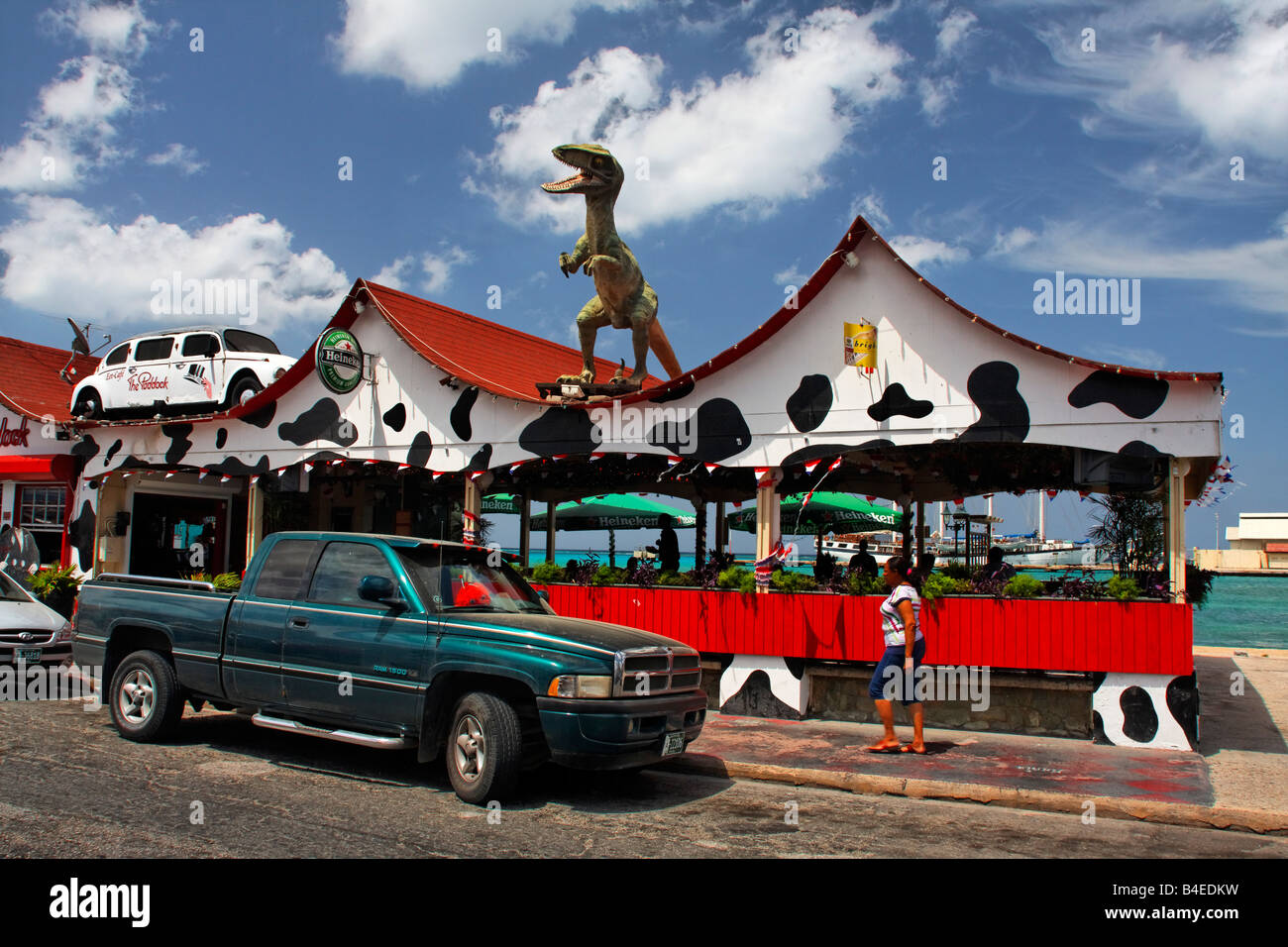 West Indies Aruba Oranjestadt Bar Cafe The Paddock Dino on the roof - Stock Image