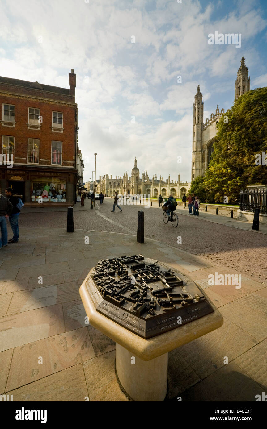 Map of Cambridge with Kings Chapel and entrance to Kings College in the background,  'Kings Parade', Cambridge, - Stock Image