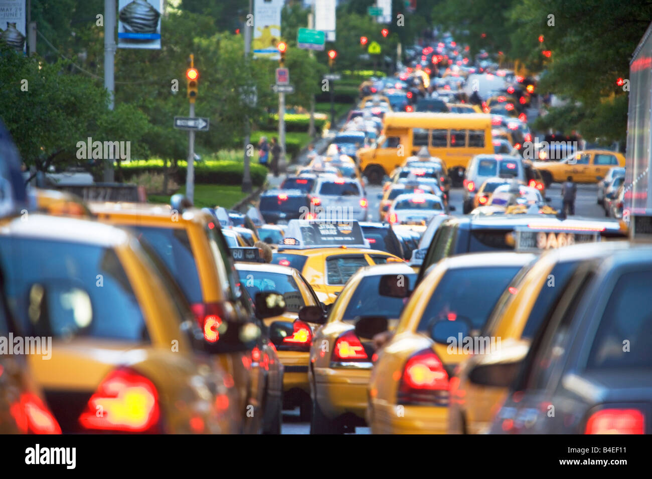 taxis busy cars trucks motor vehicle new york city