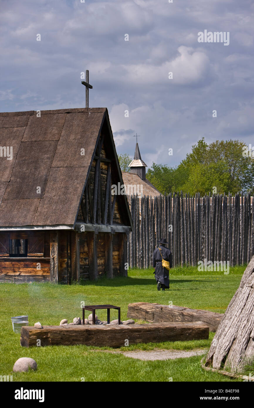 Costumed character in the Native Area of the Sainte-Marie among the Hurons complex in the town of Midland, Ontario, - Stock Image