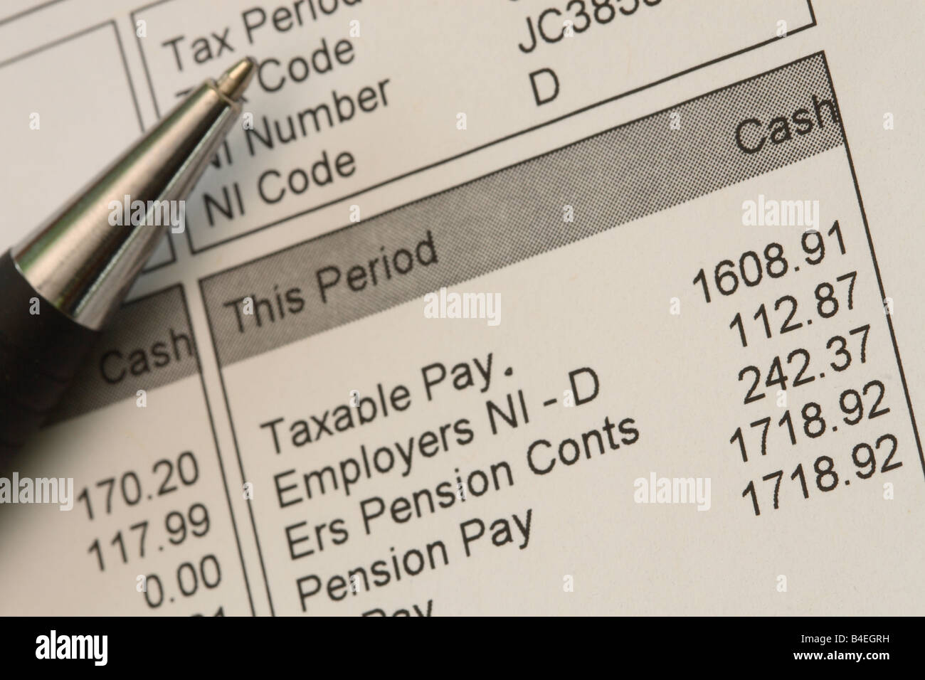 Wage pay payslip tax pension and national insurance ...