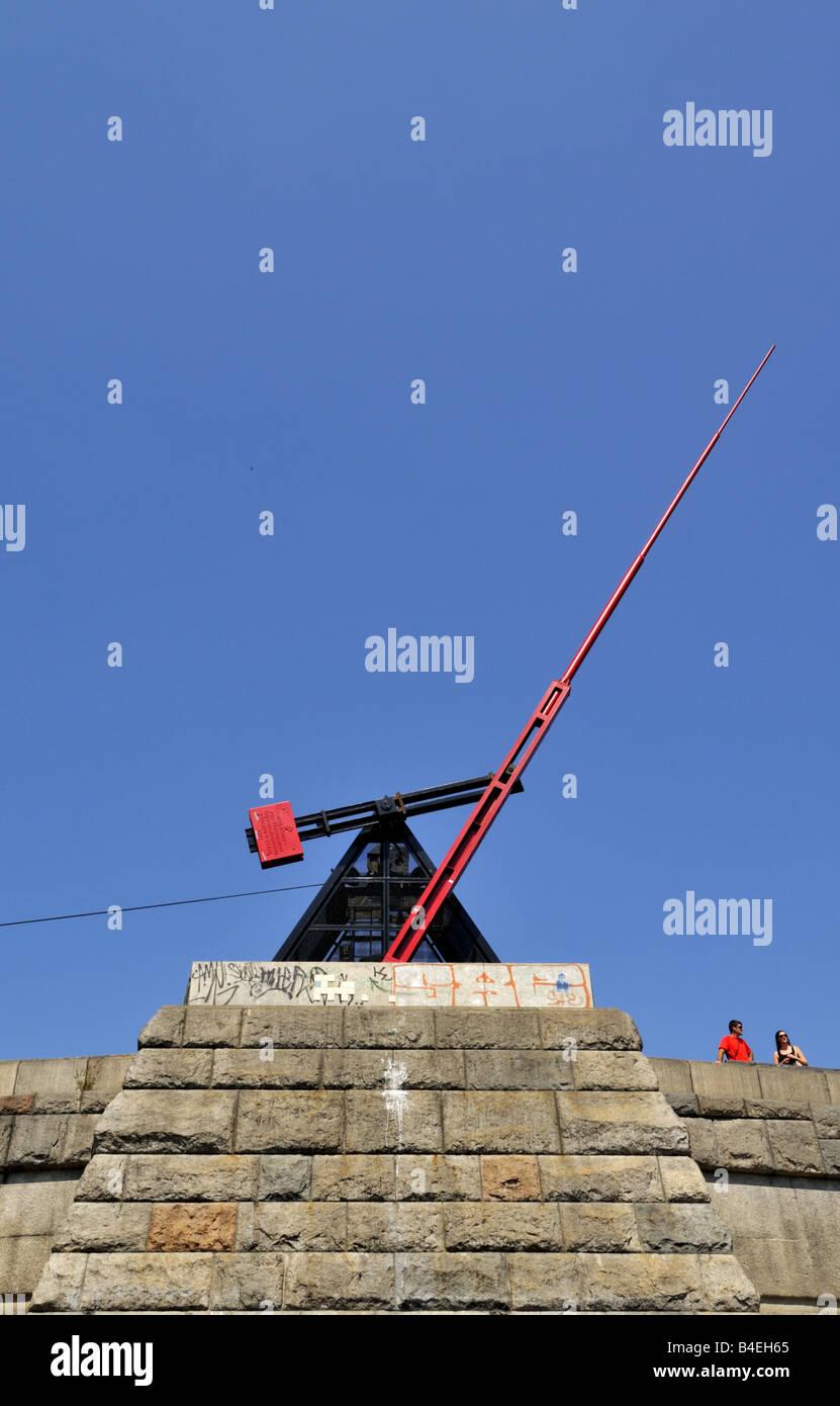 Metronome sculpture at Letna Park, Prague, Czech Republic. - Stock Image