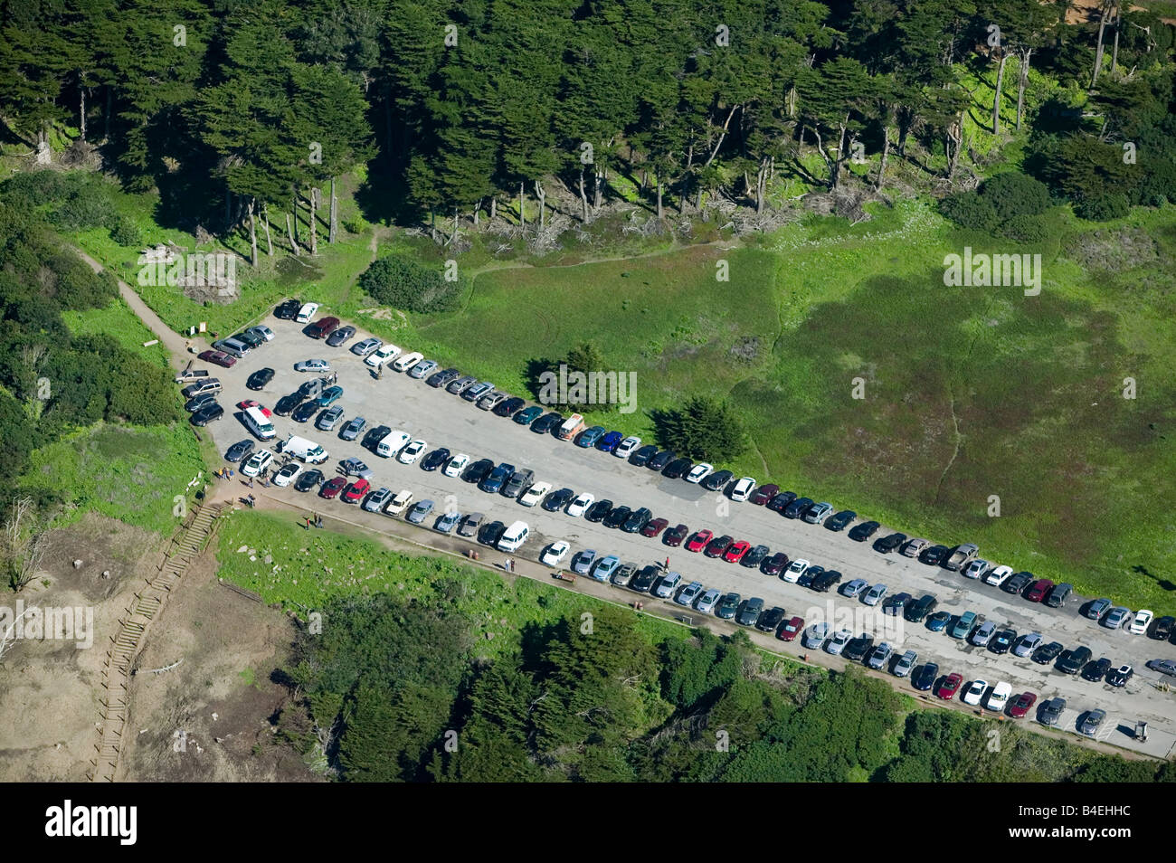 aerial view of parking lot above Sutro Baths Golden Gate National Recreation Area San Francisco CA - Stock Image