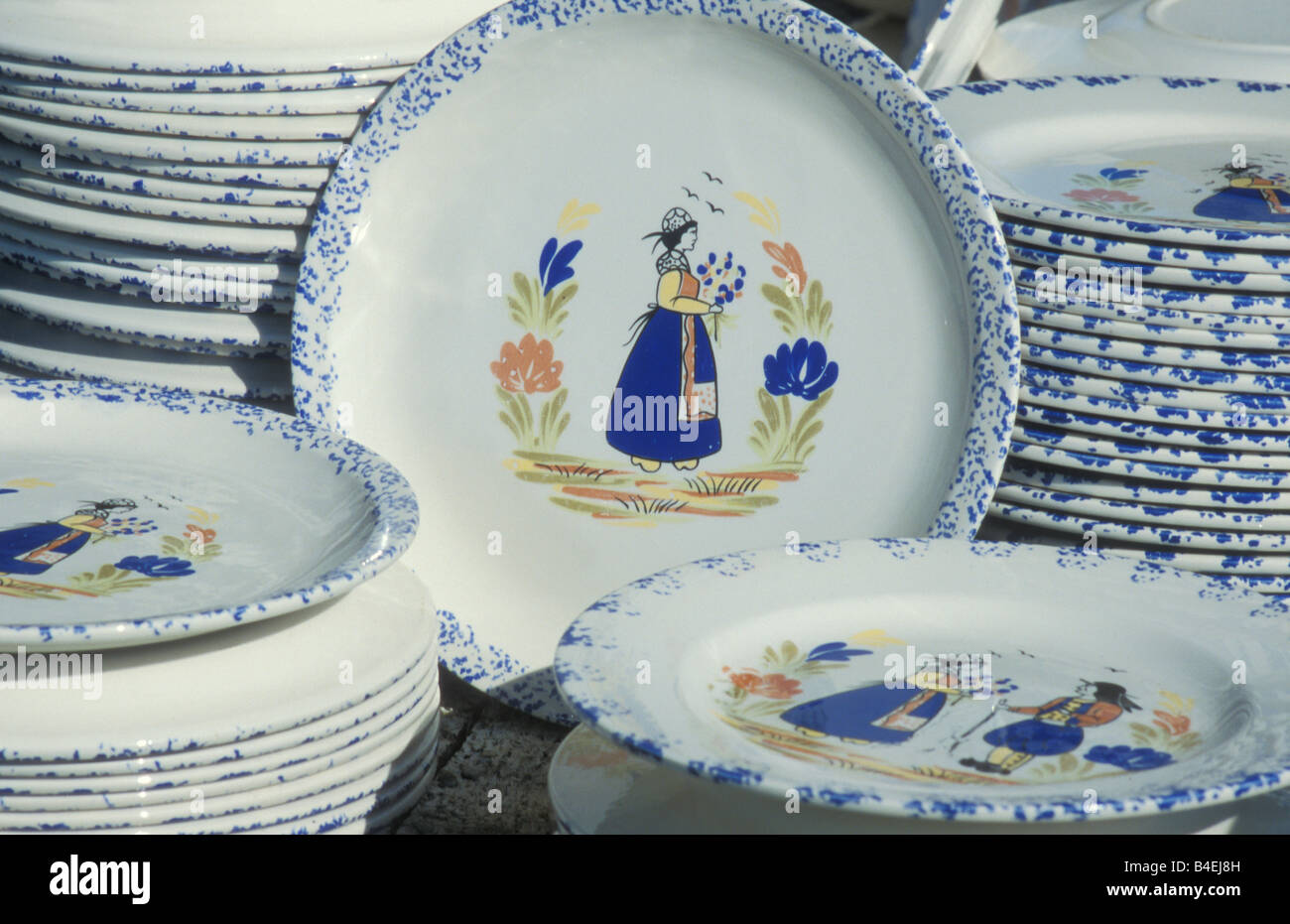 Painted Plates Ceramic Pottery Souvenir Bretagne France & Painted Plates Ceramic Pottery Souvenir Bretagne France Stock Photo ...