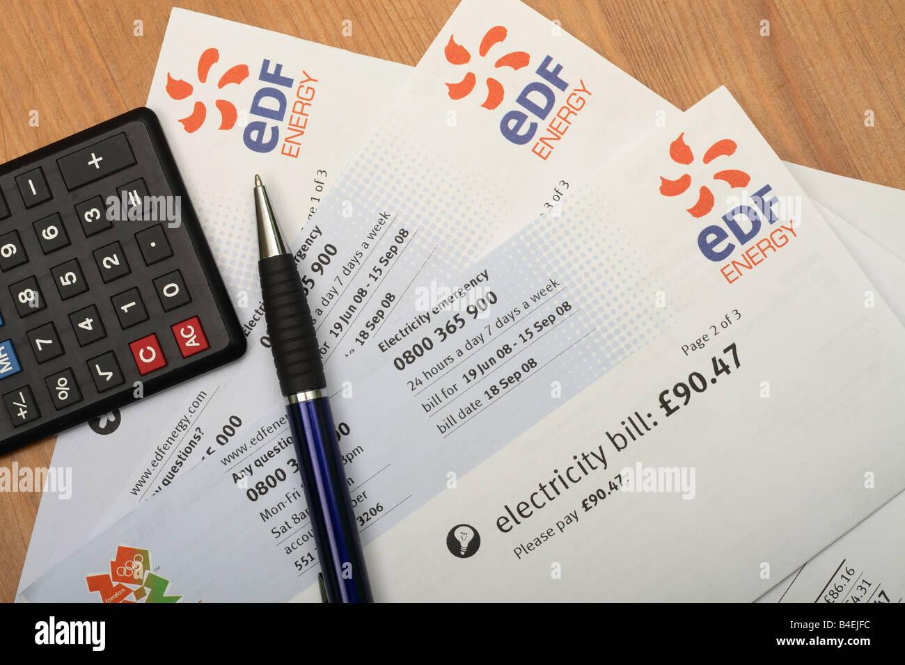 EDF Electricity Domestic Home Fuel Power Bill Cost