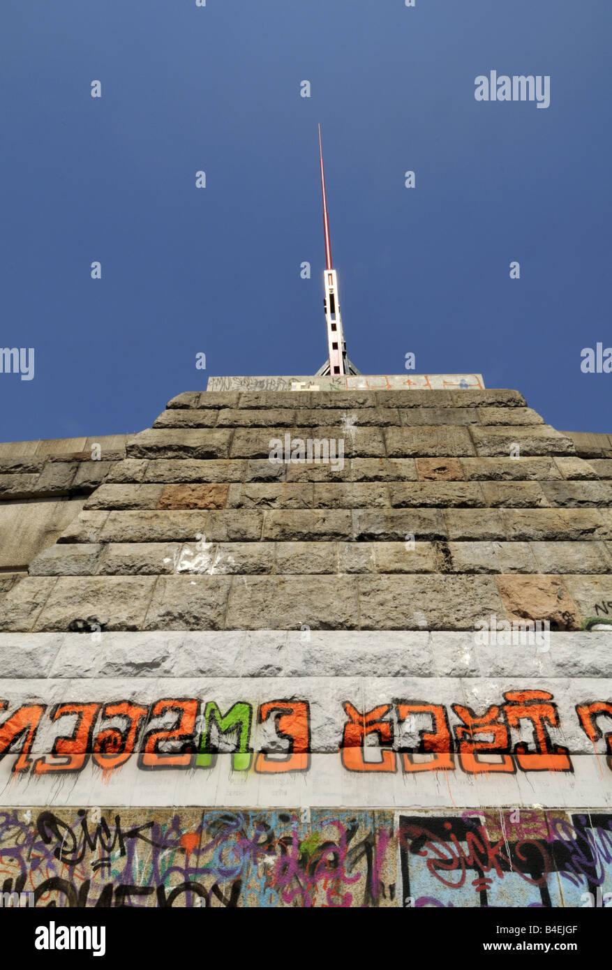 Graffiti and metronome sculpture at Letna Park, Prague, Czech Republic. Stock Photo