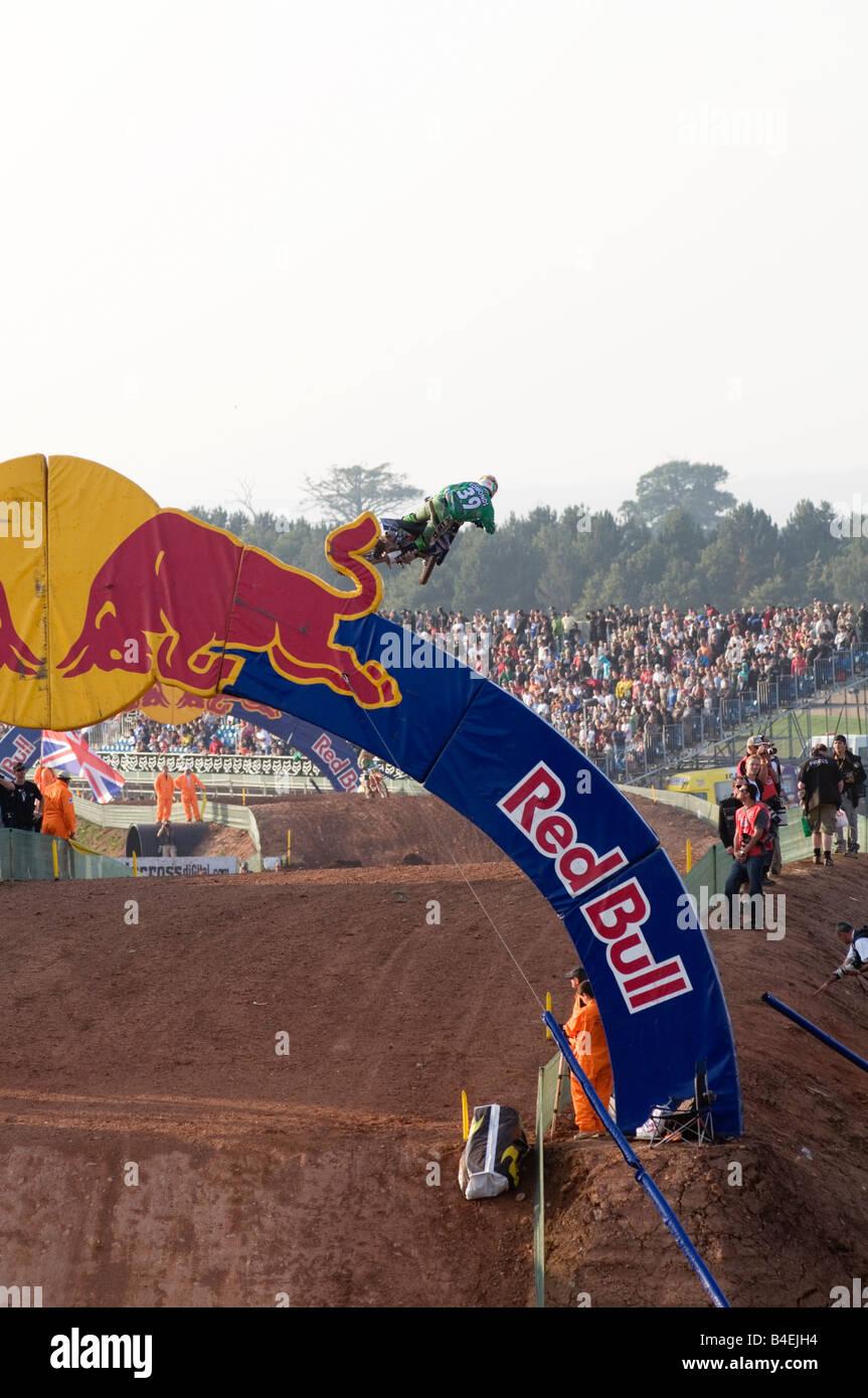red bull sponsor sponsored moto cross event, sports marketing product branding brand attributes Stock Photo