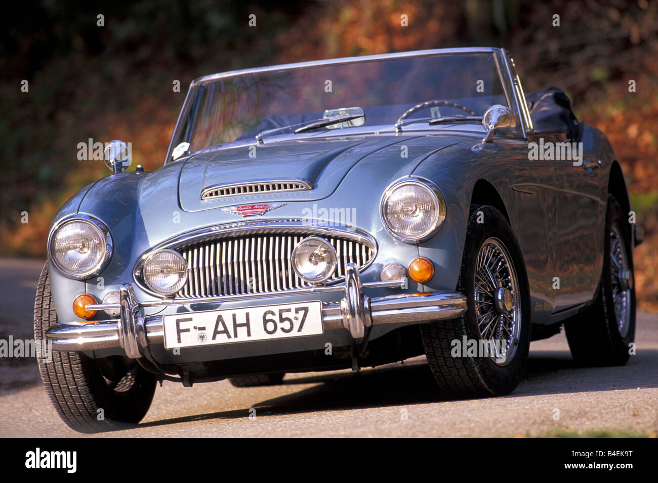 Car, Austin Healey 3000 MK III, convertible, vintage car, model year 1963-1968, this car model year 1964, silver, - Stock Image