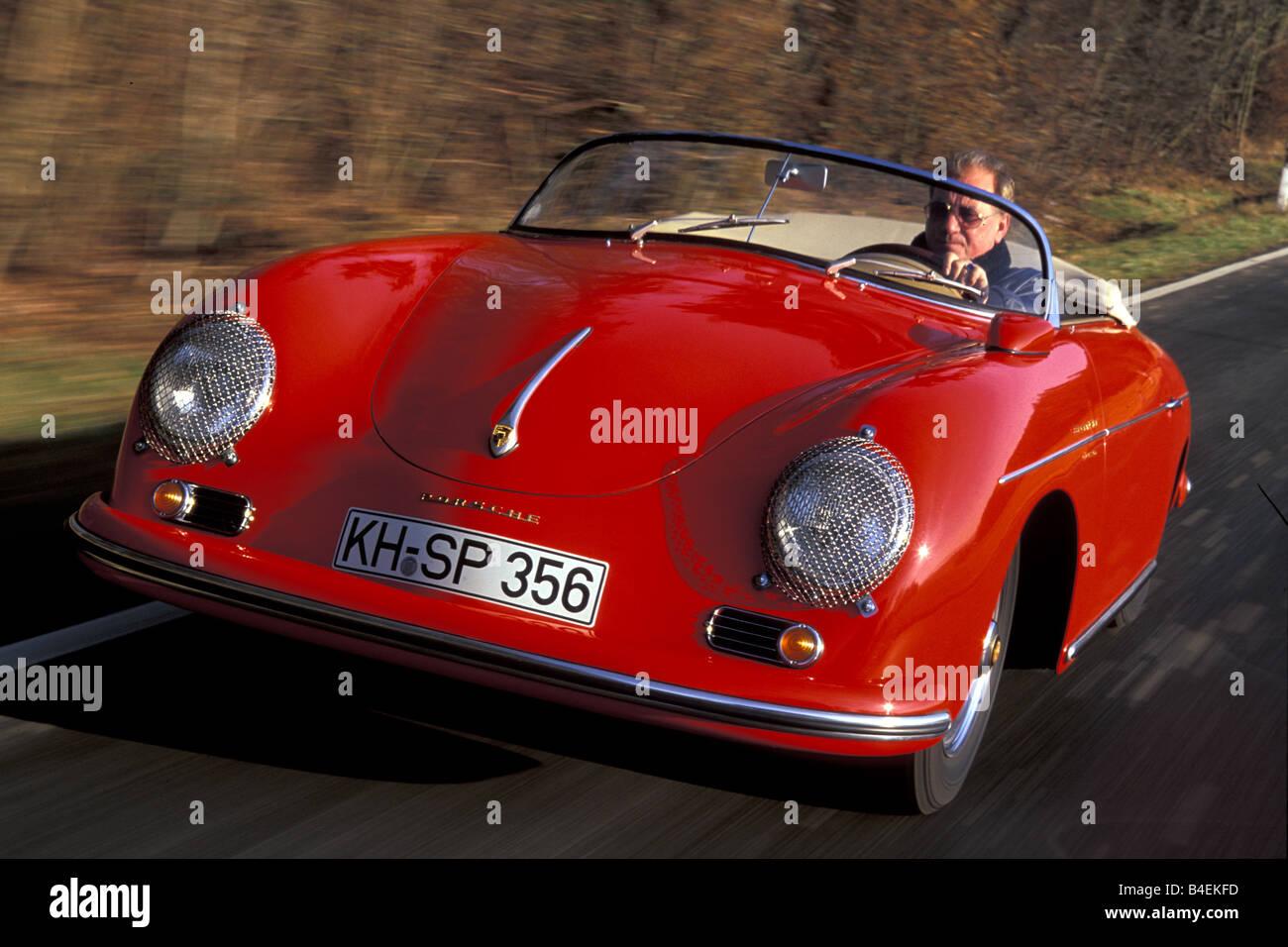 Car Porsche 356 Carrera A Speedster Model Year 1955 1958 Convertible Red Top Open Vintage 1950s Fifties