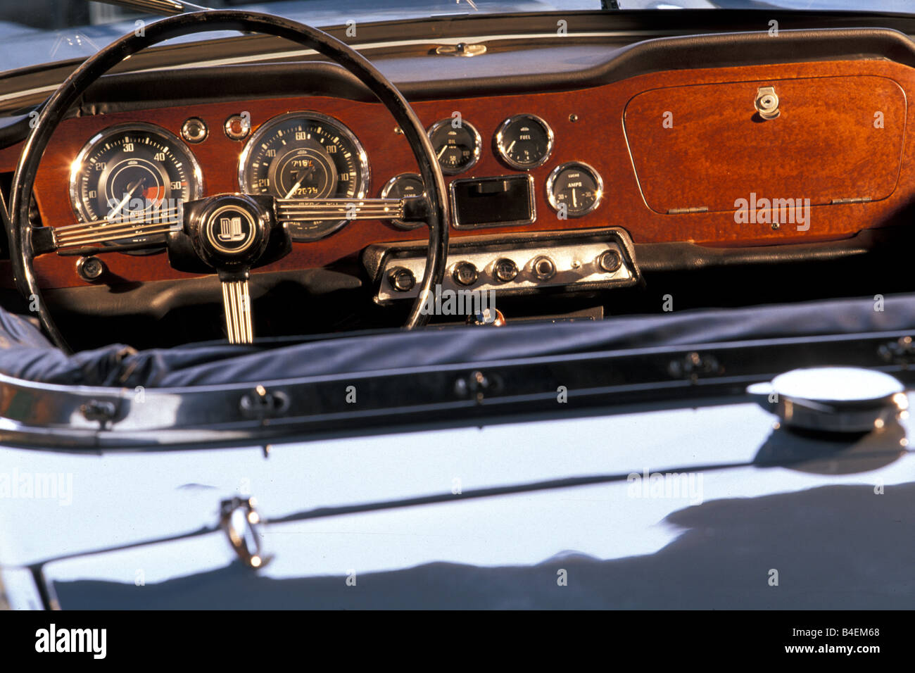 Car, Triumph TR 4, model year 1961-1965, vintage car, 1960s, sixties, sky-blue, convertible,  interior, Cockpit, - Stock Image