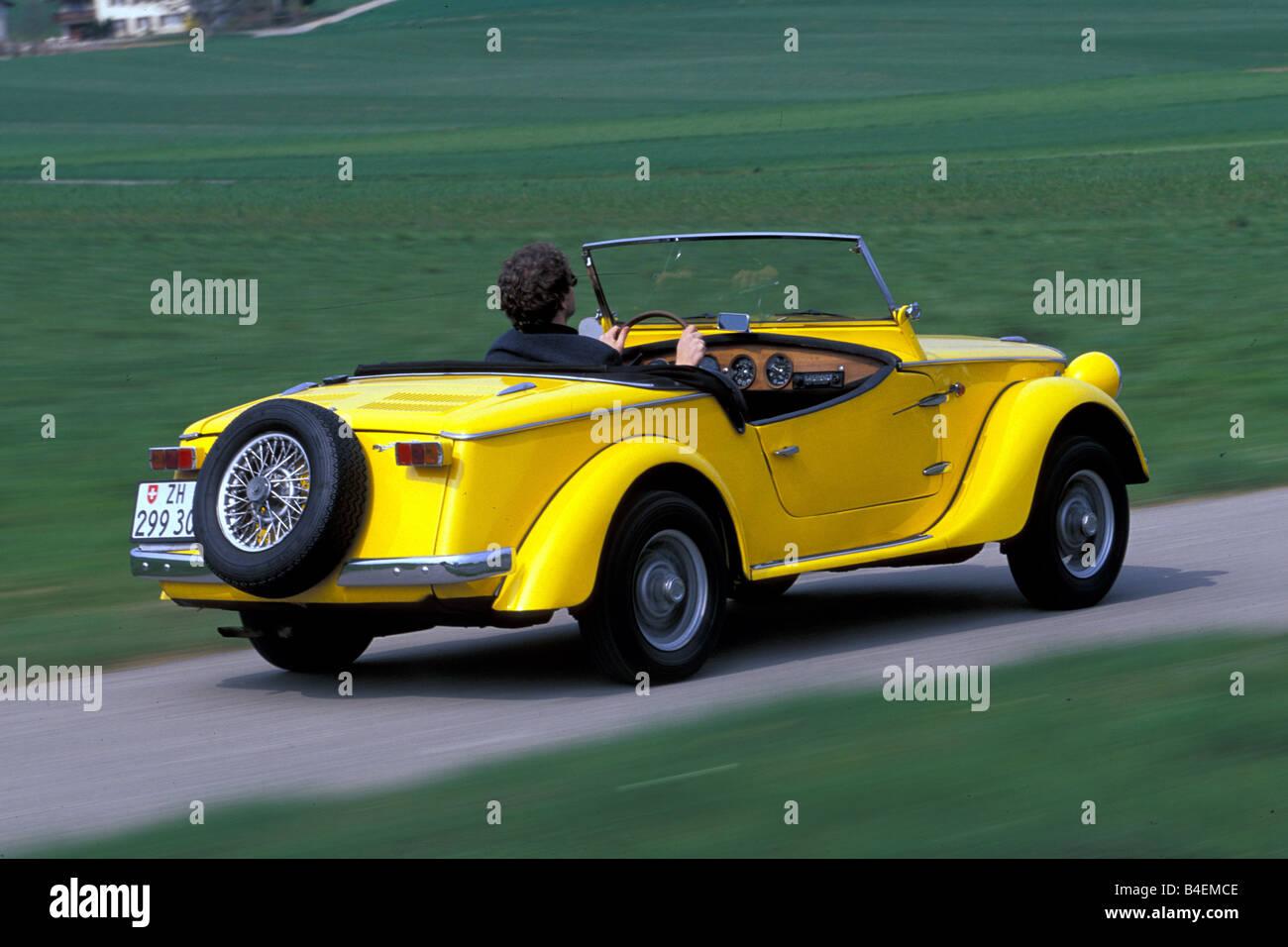 Car Siata Spring Convertible Model Year 1968 1970 Yellow Vintage