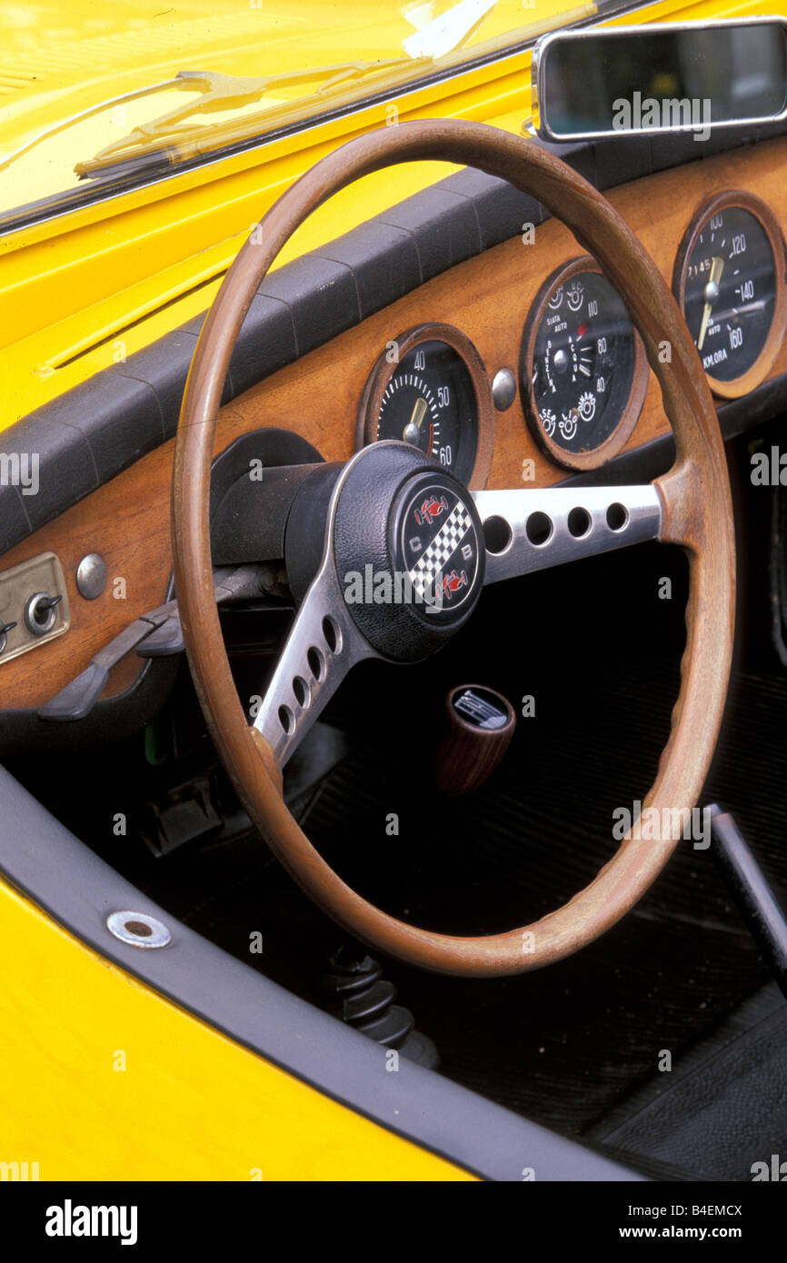 Car Siata Spring Convertible Model Year 1968 1970 Yellow Vintage 1960s Sixties 1970s Seventies Interior Cockpit