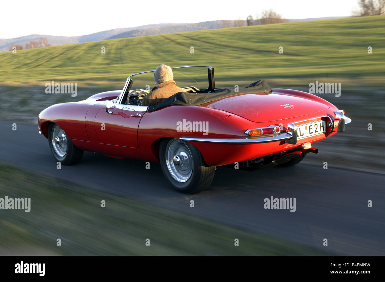 Car Jaguar E Type S1 42 Model Year 1965 Convertible Vintage 1960s Sixties Red 265 PS Top Open Drivin