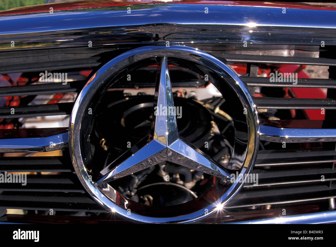 Car, Mercedes Benz 350 SL R 107, convertible, model year 1978, red ...