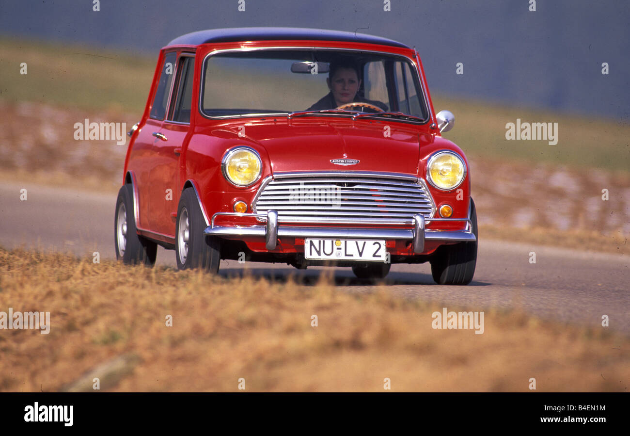 Car, Austin, Morris Cooper S 1275, model year 1964-1971, vintage car, old  car, 1960s, sixties, 1970s, seventies, driving, red,