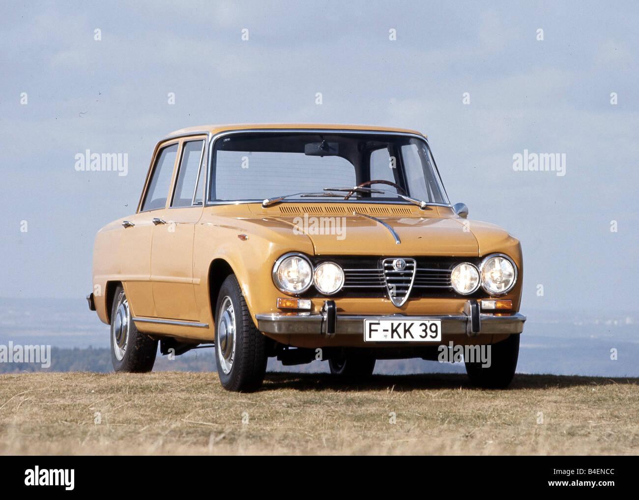 Car, Alfa Romeo Giulia 1750, sedan, yellow, ocker, model year approx. 1967-1972, vintage car, 1960s, sixties, 1970s, - Stock Image