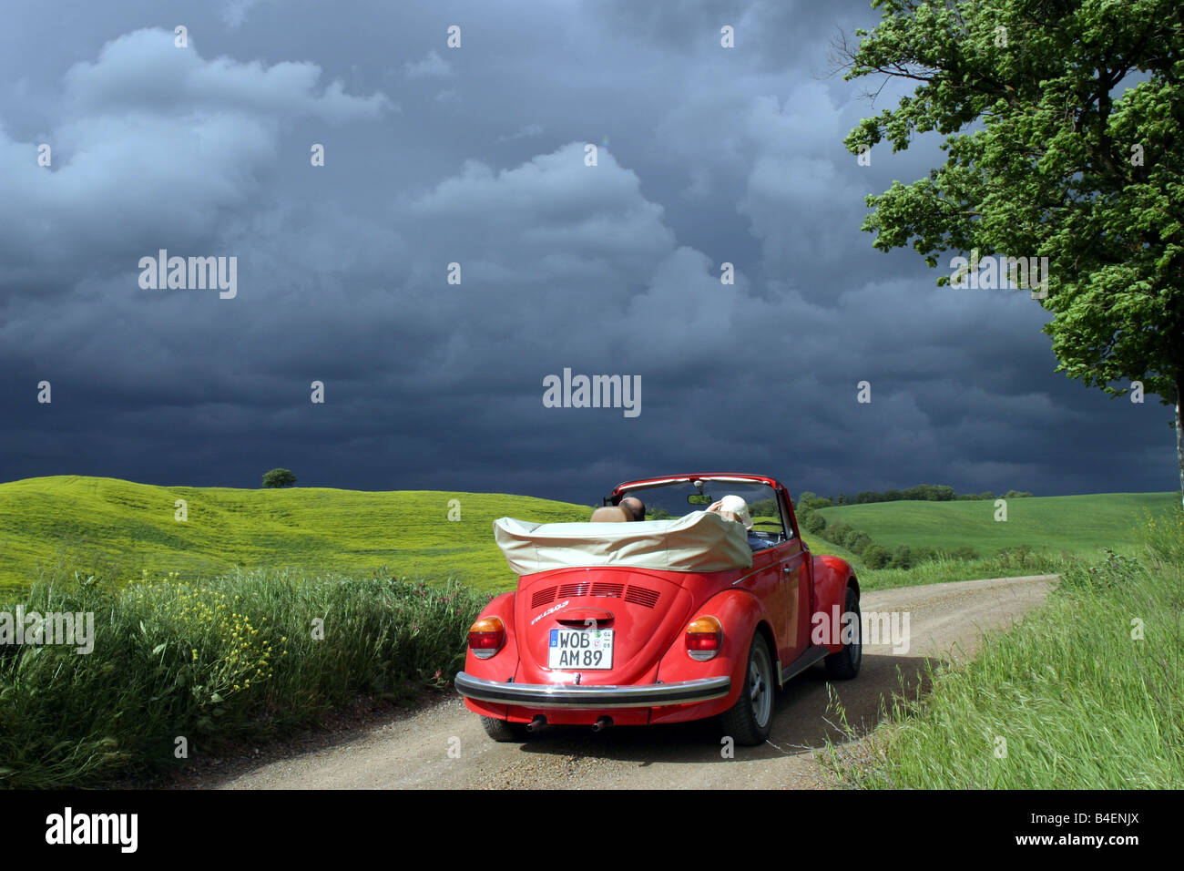Car, VW, Volkswagen, Beetle Convertible, Red, Vintage Car, 1960s, Sixties,  1970s, Seventies, Convertible Top, Open, Driving, Dia