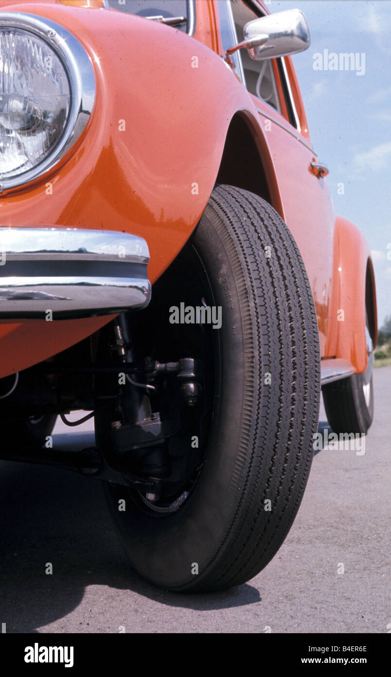 Car, VW, Volkswagen, beetle 1302, orange, compact, sub-compact, small car, model year 1970-1972, old car, 1970s, - Stock Image