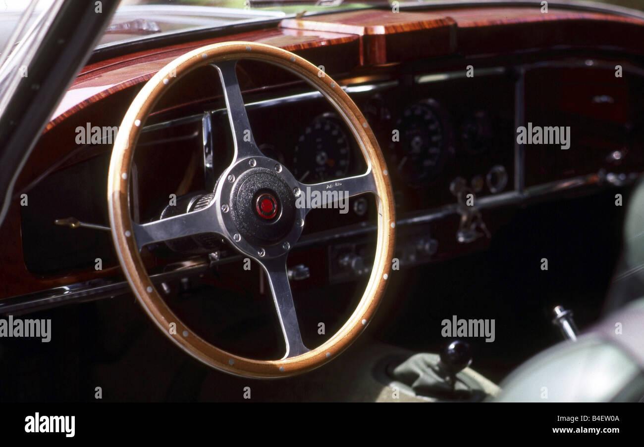 Jaguar XK 150 Coupé, model year 1957-1961, dark grey, interior, Cockpit, technics, technical, technically, - Stock Image