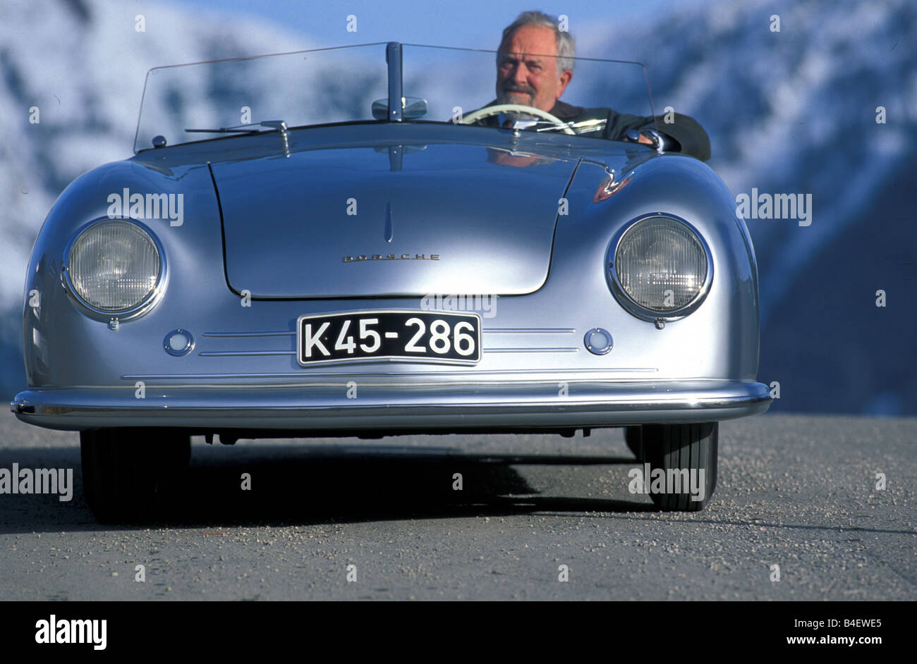 Car, Porsche Nr. 1, convertible, Roadster, silver, model year 1948 ...
