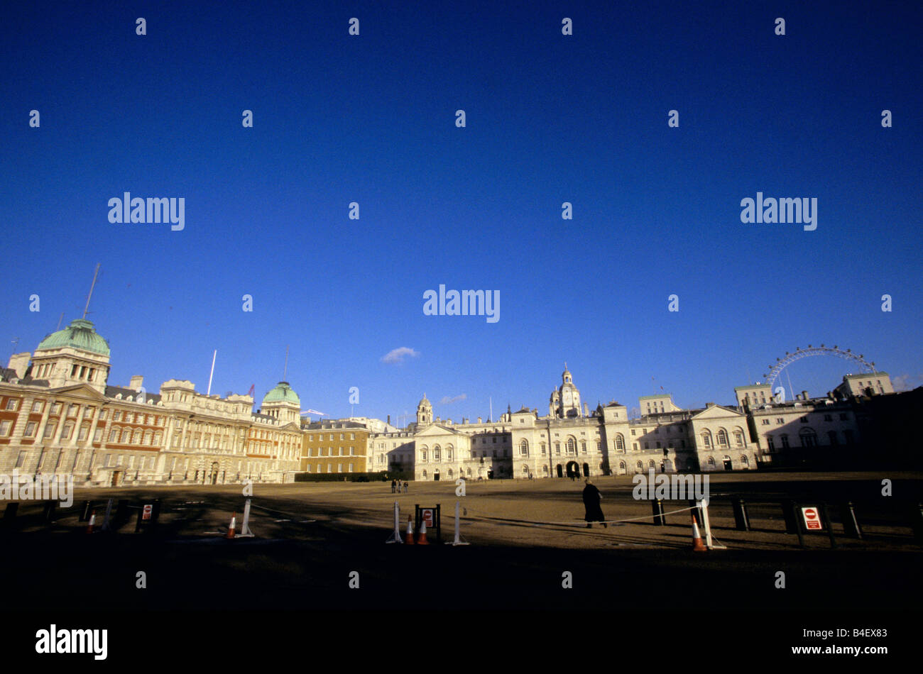Horse Guards parade ground, Old Admiralty building, Horse Guards building, London Eye, England, UK Stock Photo