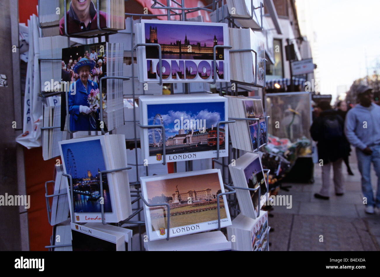 Postcards for sale at souvenir shop, London, England, UK - Stock Image