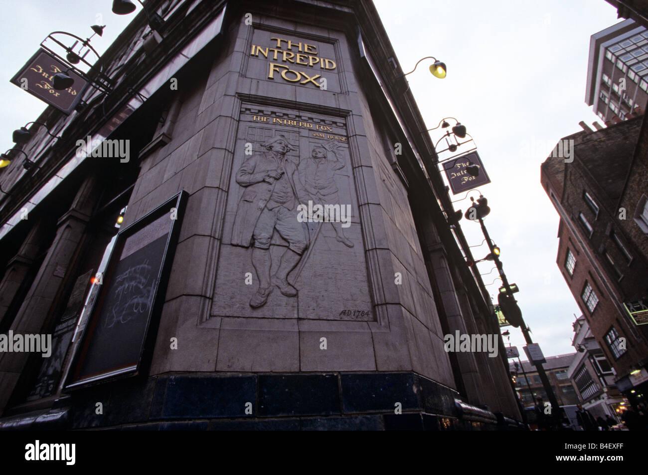 The Intrepid Fox pub, Wardour Street, Soho, London, England, UK - Stock Image