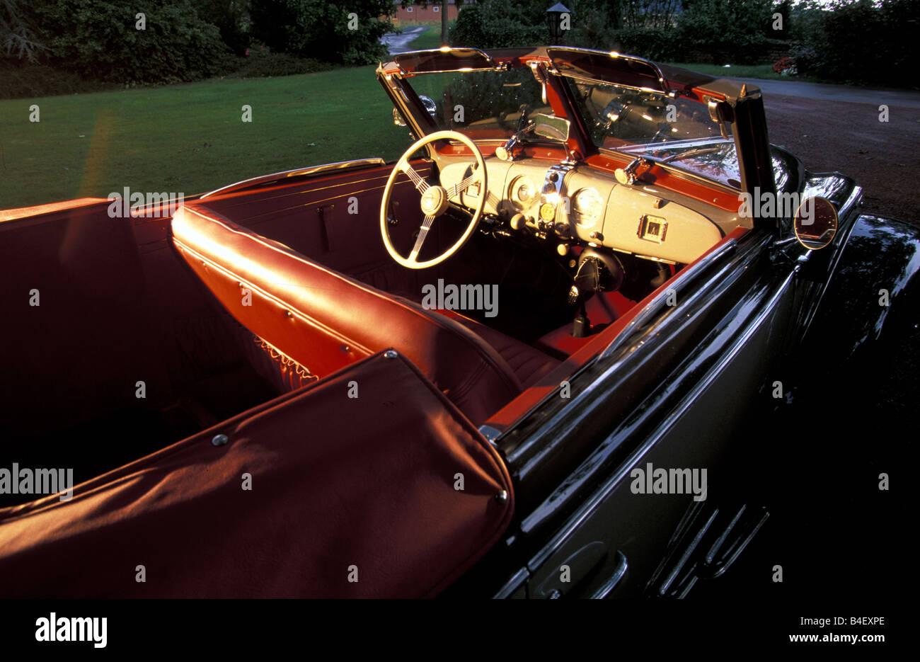 Car, OM Mille Miglia No. 1, Oldsmobile, vintage car,  convertible, convertible top, open, interior, Cockpit, technics, - Stock Image