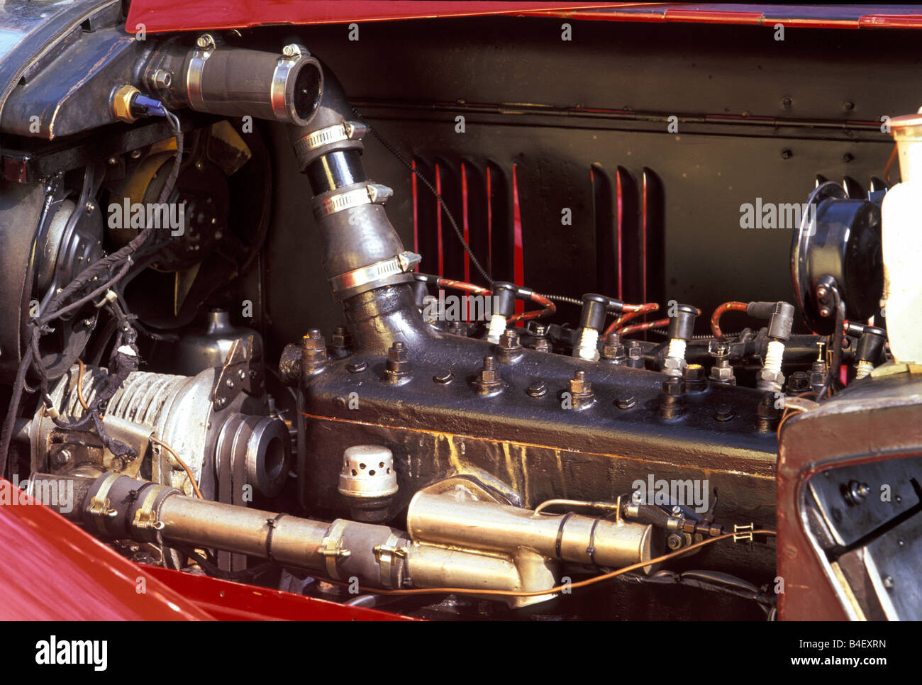 Car, OM Mille Miglia No. 1, Oldsmobile, vintage car,  convertible, convertible top, open, engine compartment, engine - Stock Image